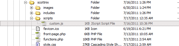 Child Theme Scripts Folder Example
